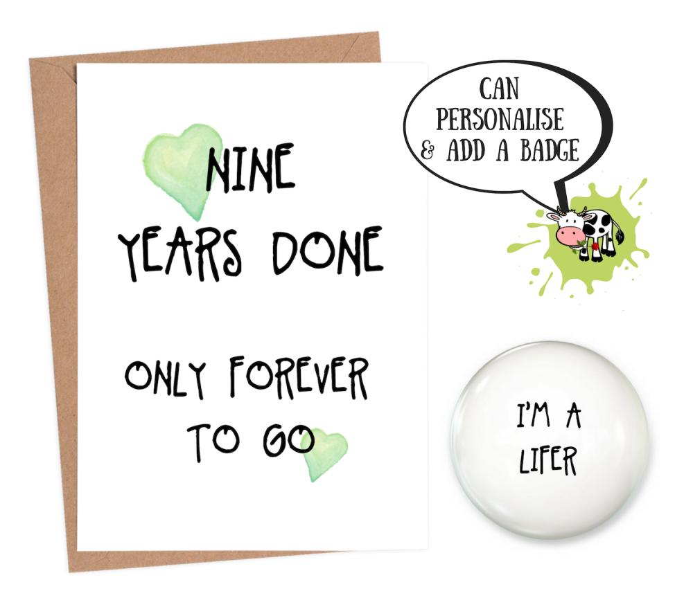 9th Year Anniversary Card Personalised Wedding Anniversary Funn7