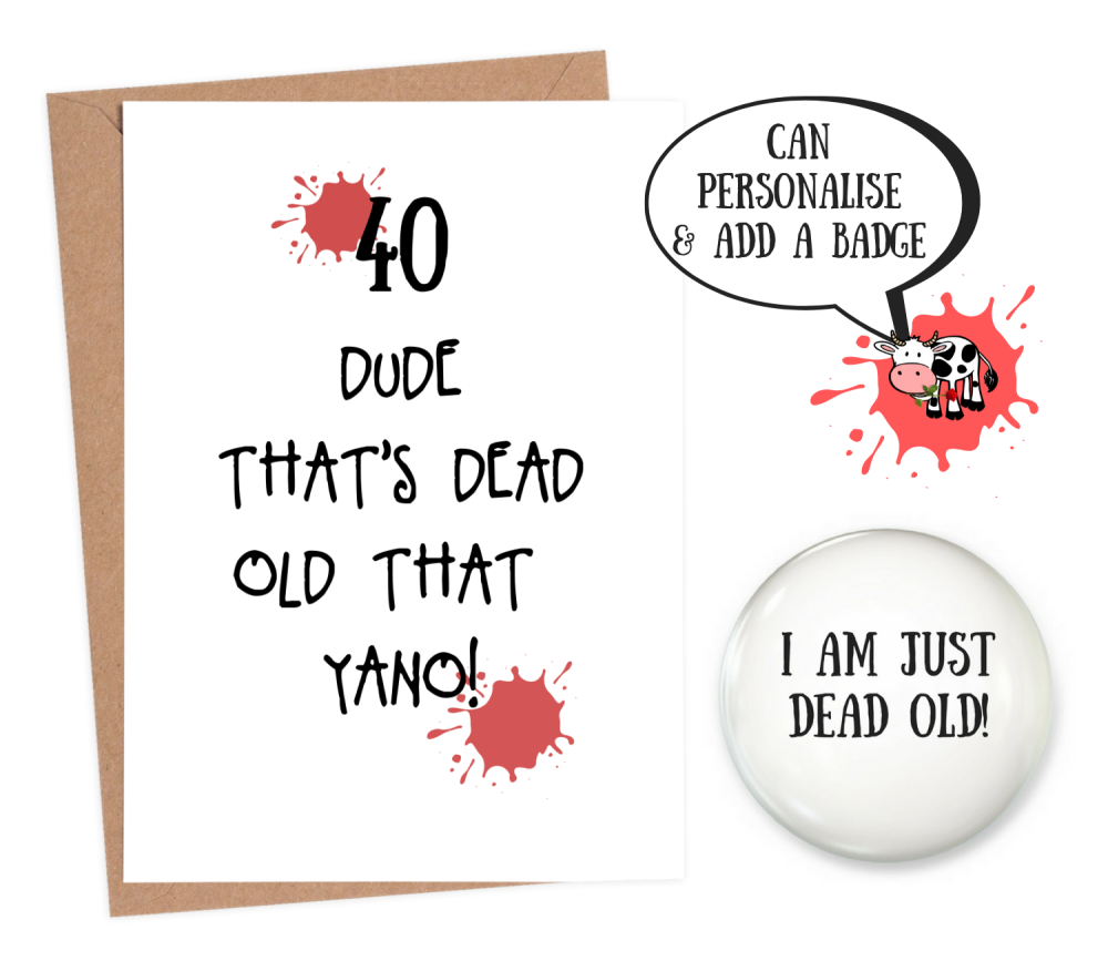 funny 40th birthday cards