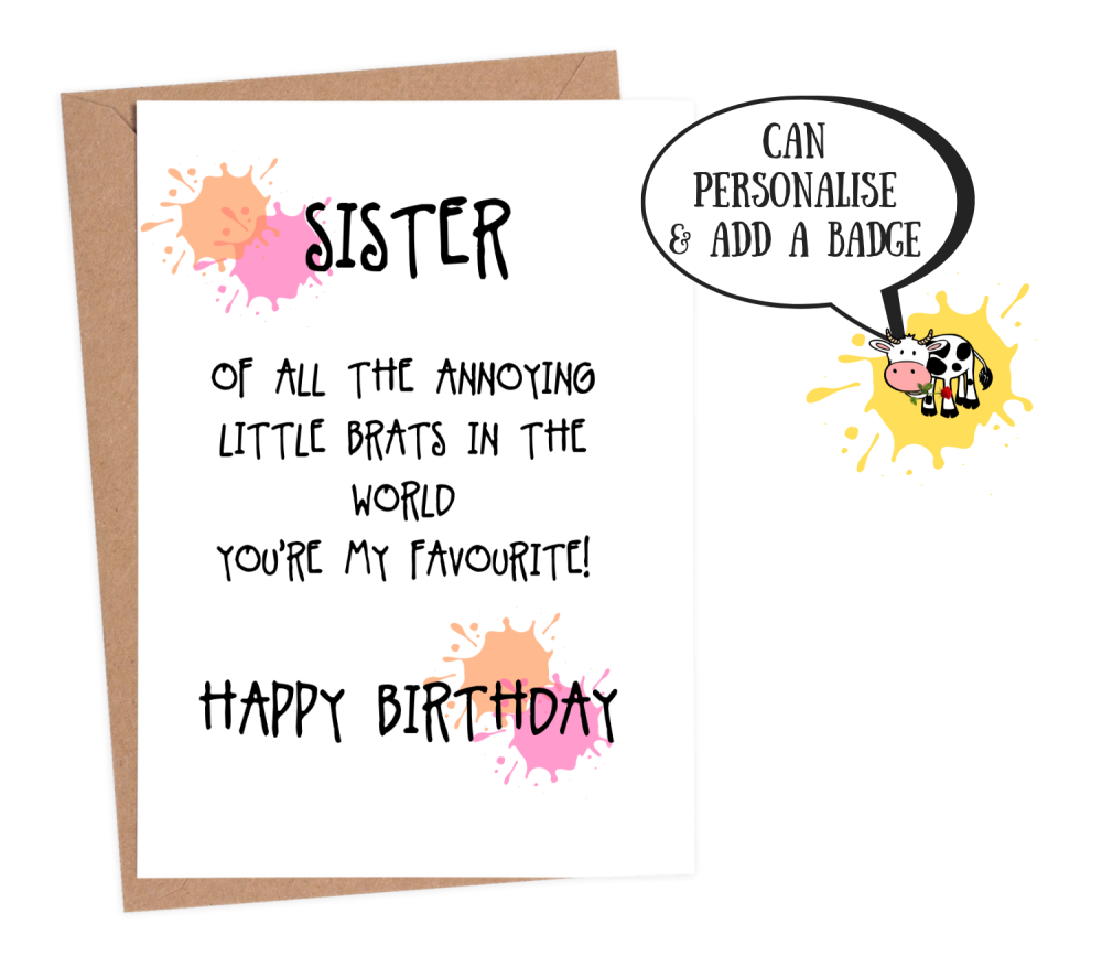 sister birthday card funny