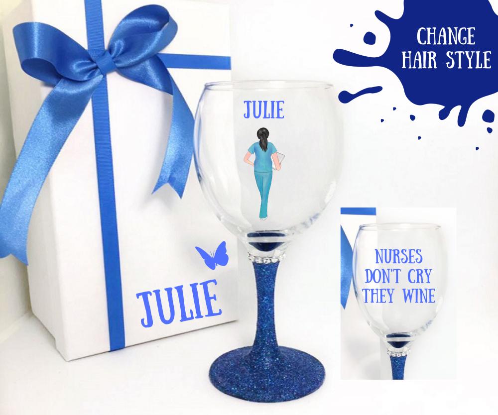 personalised nurse wine glass