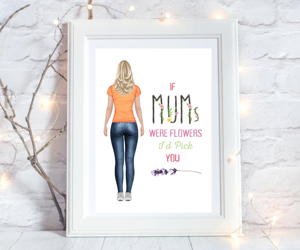Print Mum Figure Thin Floral