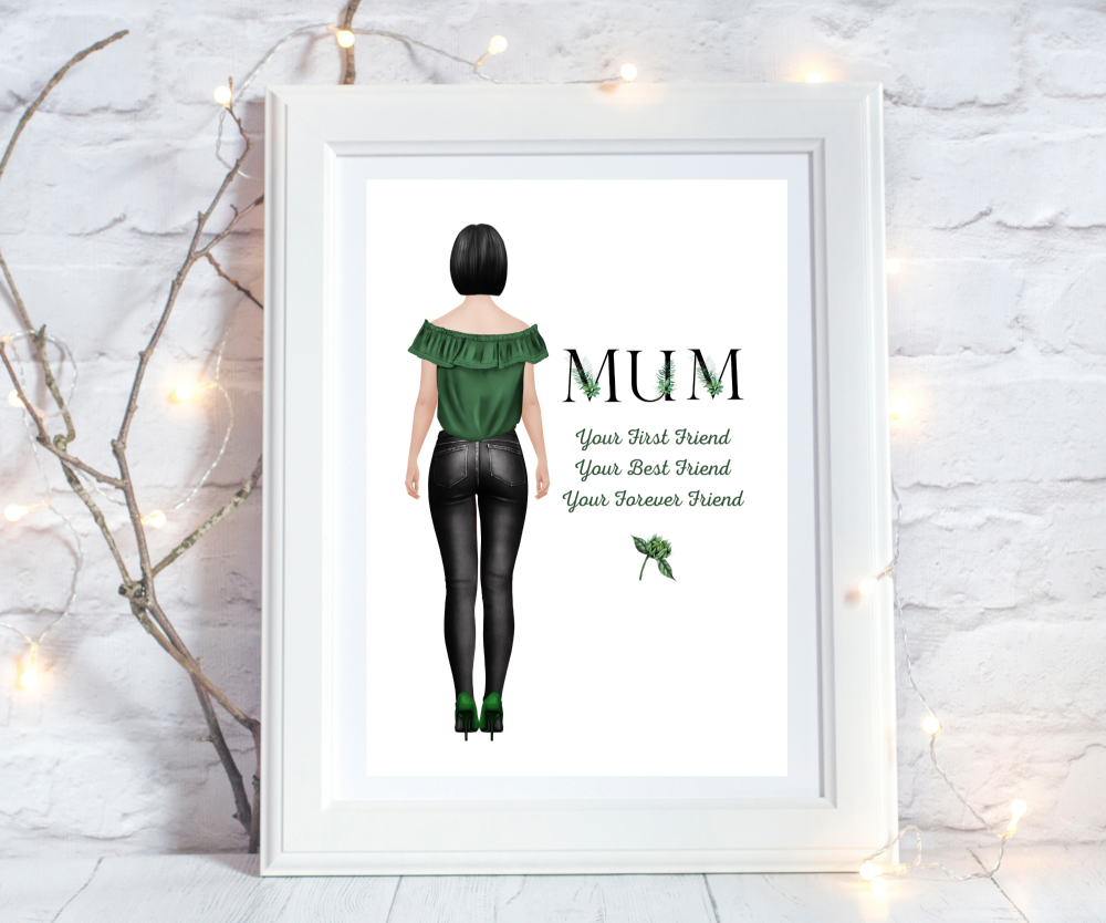Print Mum Figure Black Foliage