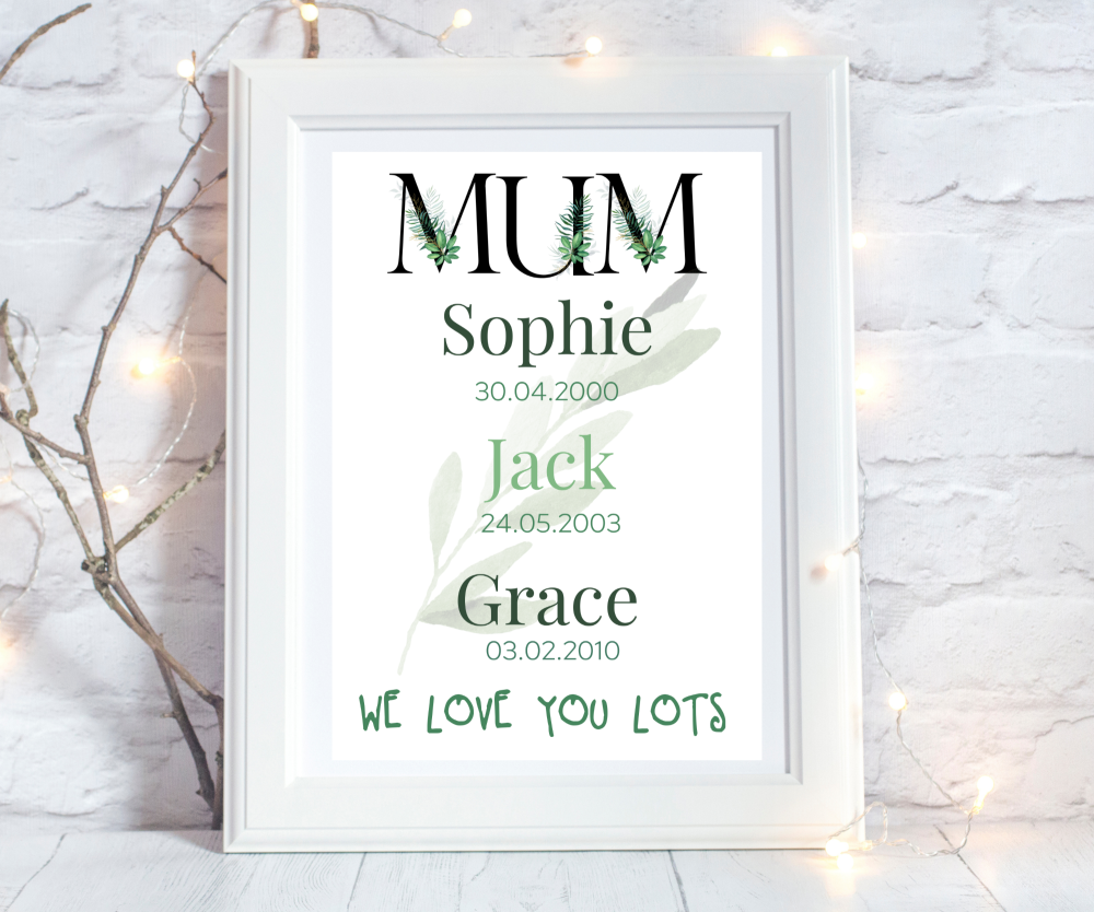 Print Mum Birthdates Black Foliage