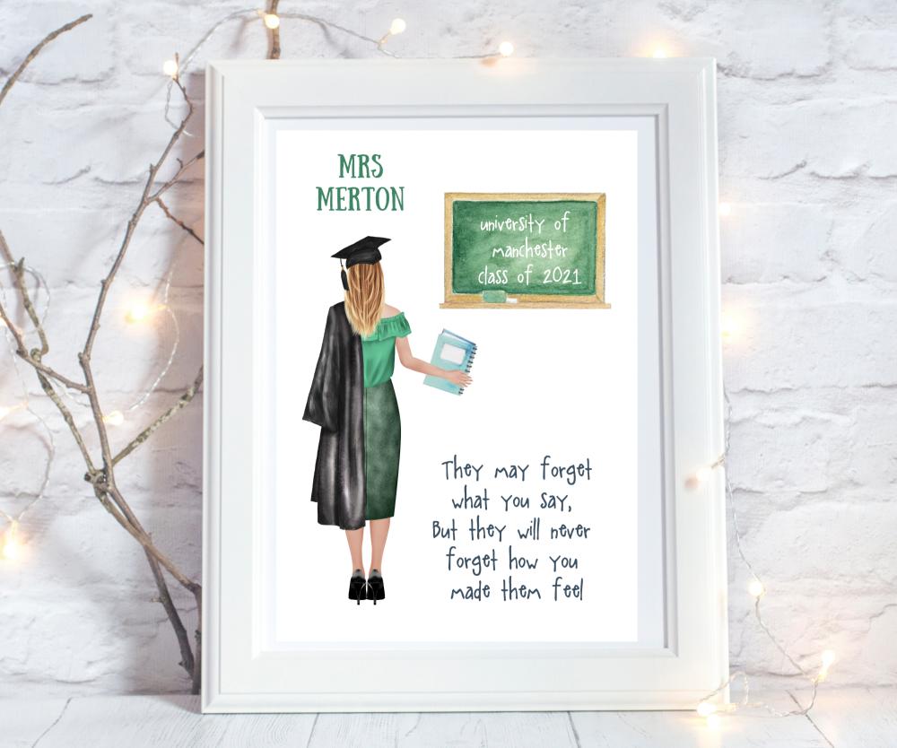 Teacher graduation gifts teacher print uk