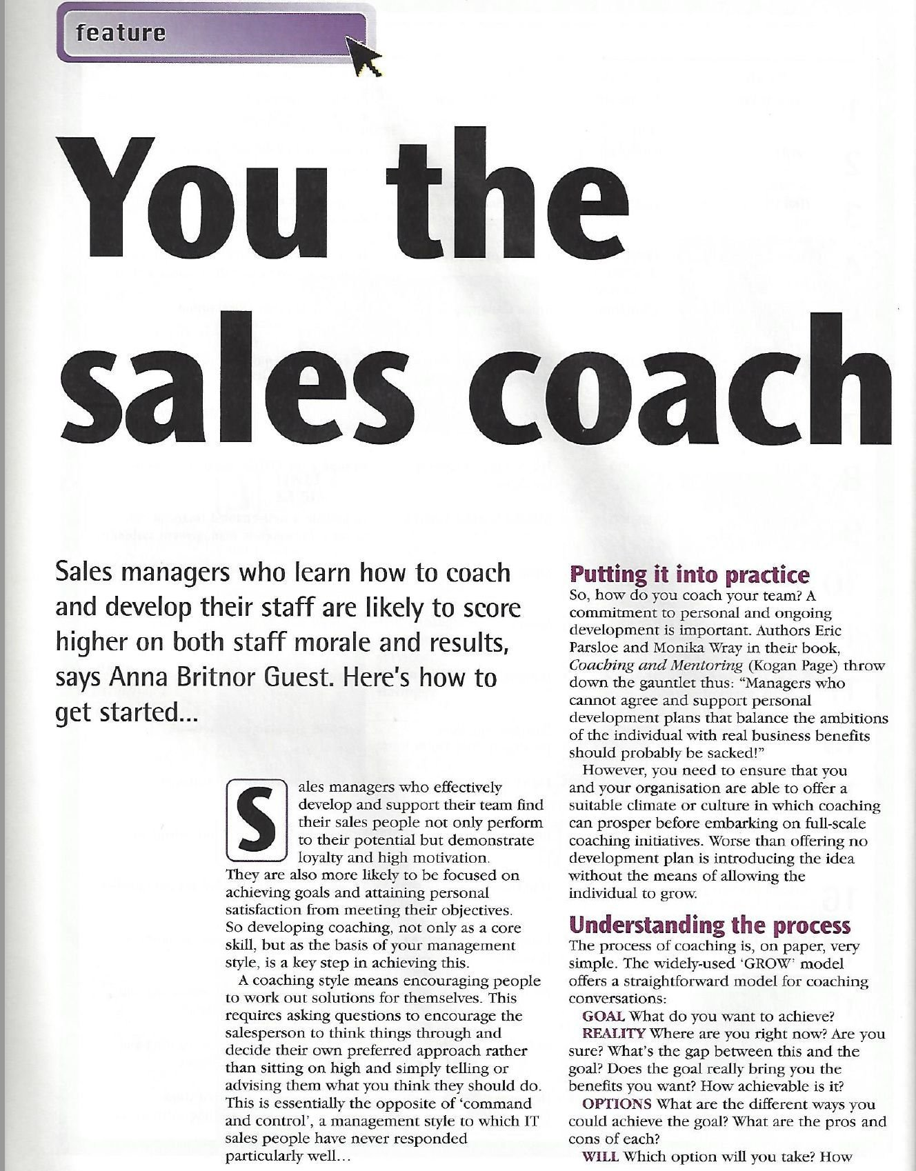 You the sales coach article