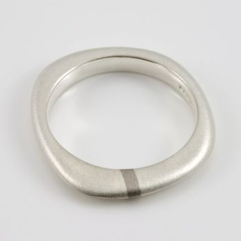 Lode Silver Ring with Gold Inlay - Thin