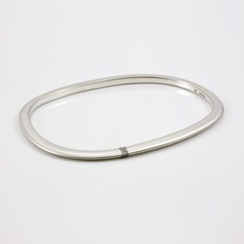 Lode Silver Bangle with Gold Inlay and Diamonds