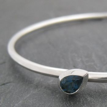 Pear Silver Stone Set Bangle - Small