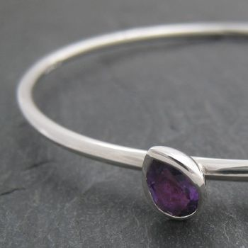 Pear Silver Bangle - Medium