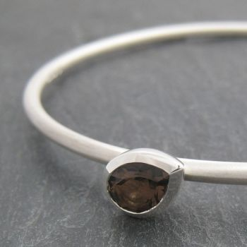 Pear Silver Stone Set Bangle - Large