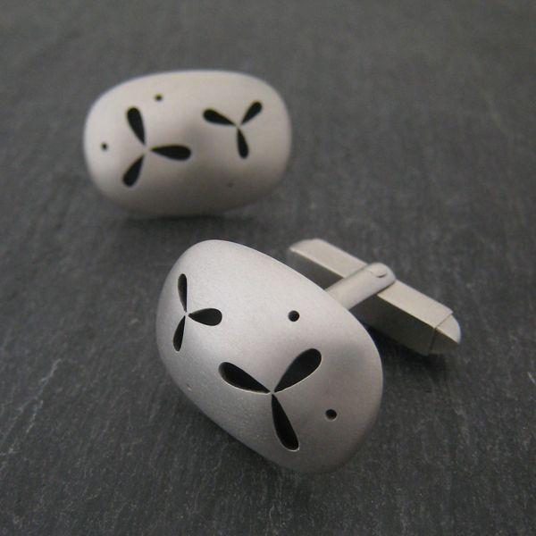 Pierced Silver Cufflinks