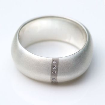 Lode Silver Ring with Diamonds - Wide