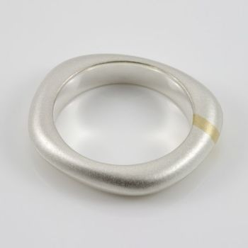 Lode Silver Ring with Gold Inlay - Medium