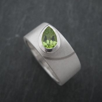 Pear Silver Stone Set Ring with Gold Inlay - Medium
