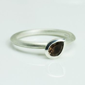 Pear Silver Stacking Ring - Small