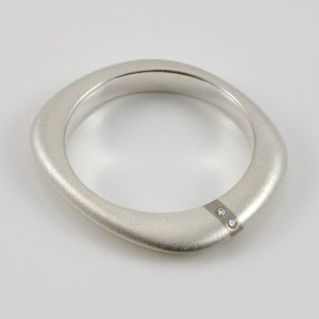 Lode Silver Ring with Diamonds - Thin