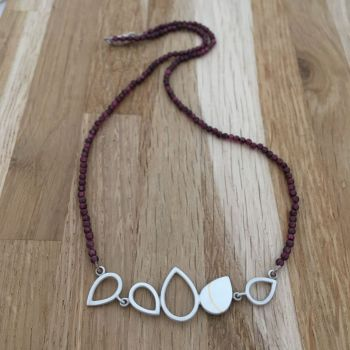 Pear Silver Necklace on Garnet Beads *SALE*