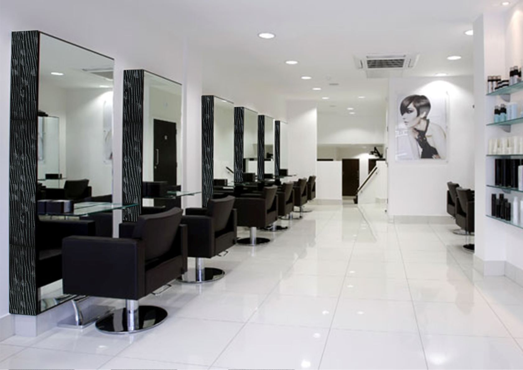laque noir D2 hairdresser wall cladding