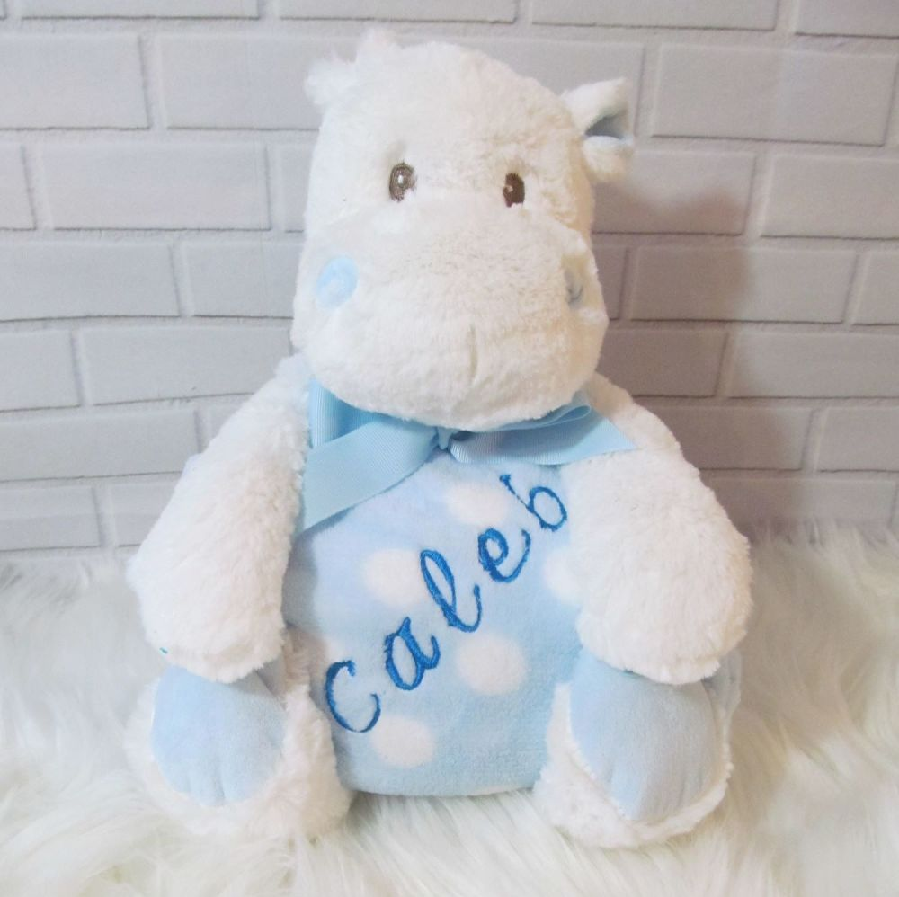 Hippo with Personalised  Snuggle Blanket  (Pink or Blue)