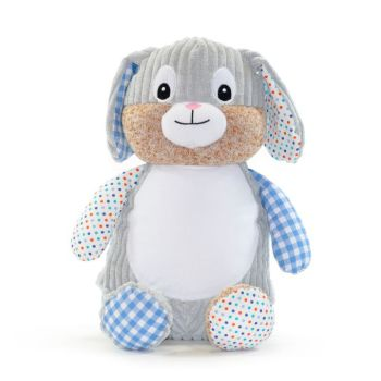 "Personalised ""Clovis Blue"" Harlequin Bunny"