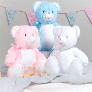 """Personalised """"Baby"""" Bear  (white, pink or blue)"""