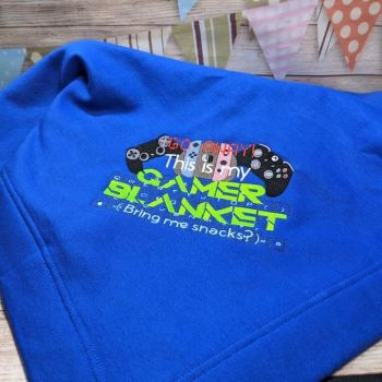 """Personalised """"Gamer"""" Blanket  (Various Colours Availible)"""