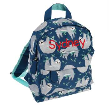 Personalised  Sidney the Sloth Mini backpack.