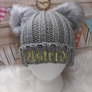 Personalised  Grey Double Pom-Pom Hat