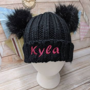 Personalised  Black Double Pom-Pom Hat
