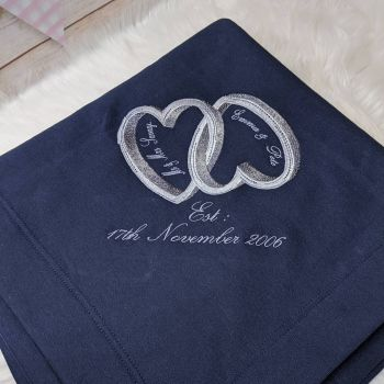 """""""Anniversary/Love-hearts"""" Blanket  (Various Colours Available)"""