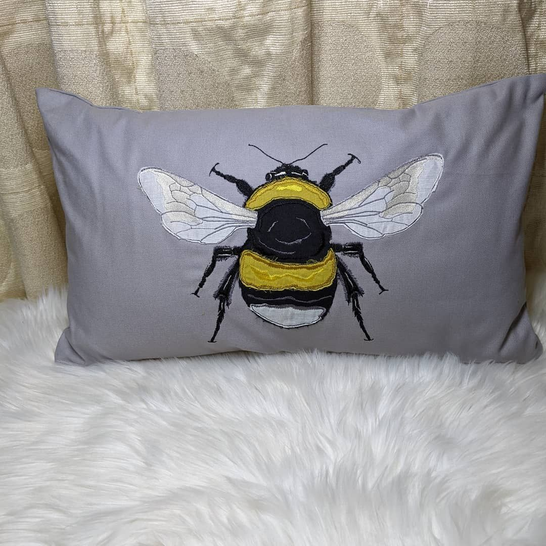 "Appliqued ""Bumble Bee""  Cushion"