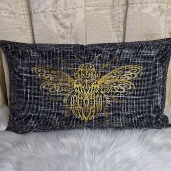 """Embroidered """"Bumble Bee""""  Cushion Cover"""