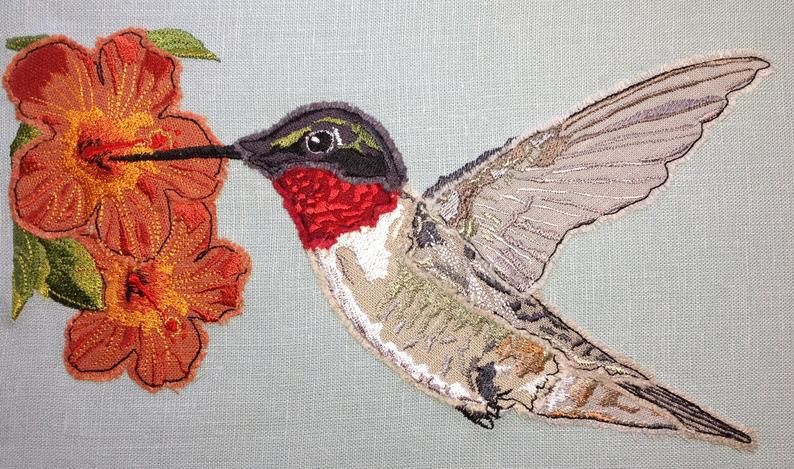 Hummingbird and Hibiscus Flowers Design