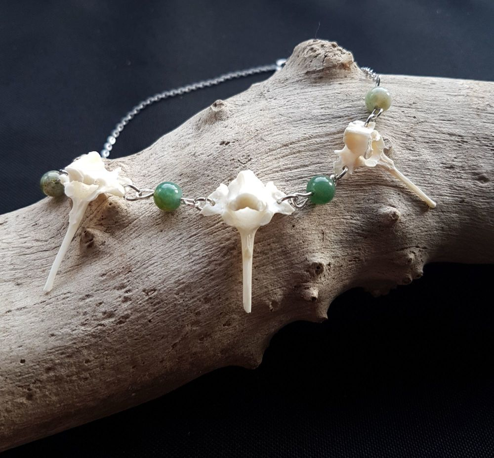 Rabbit Vertebrae Necklace With Green Moss Agate Beads