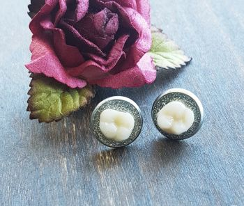 Human Denture Teeth Earrings Set In Resin