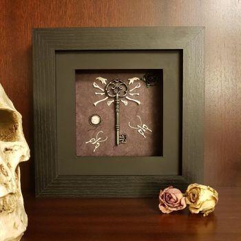 Owl Pellet Bone Art -Key Victorian-Memento Mori-