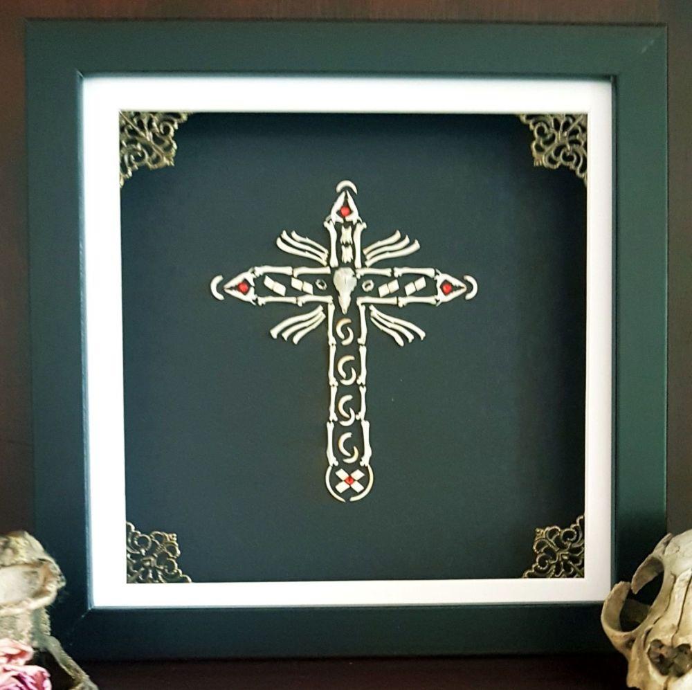 Owl Pellet Bone Art -Crucifix -