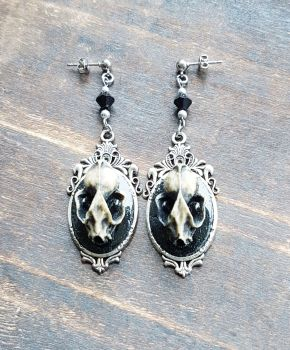Resin Bat Skull In Ornate Pendant Earrings
