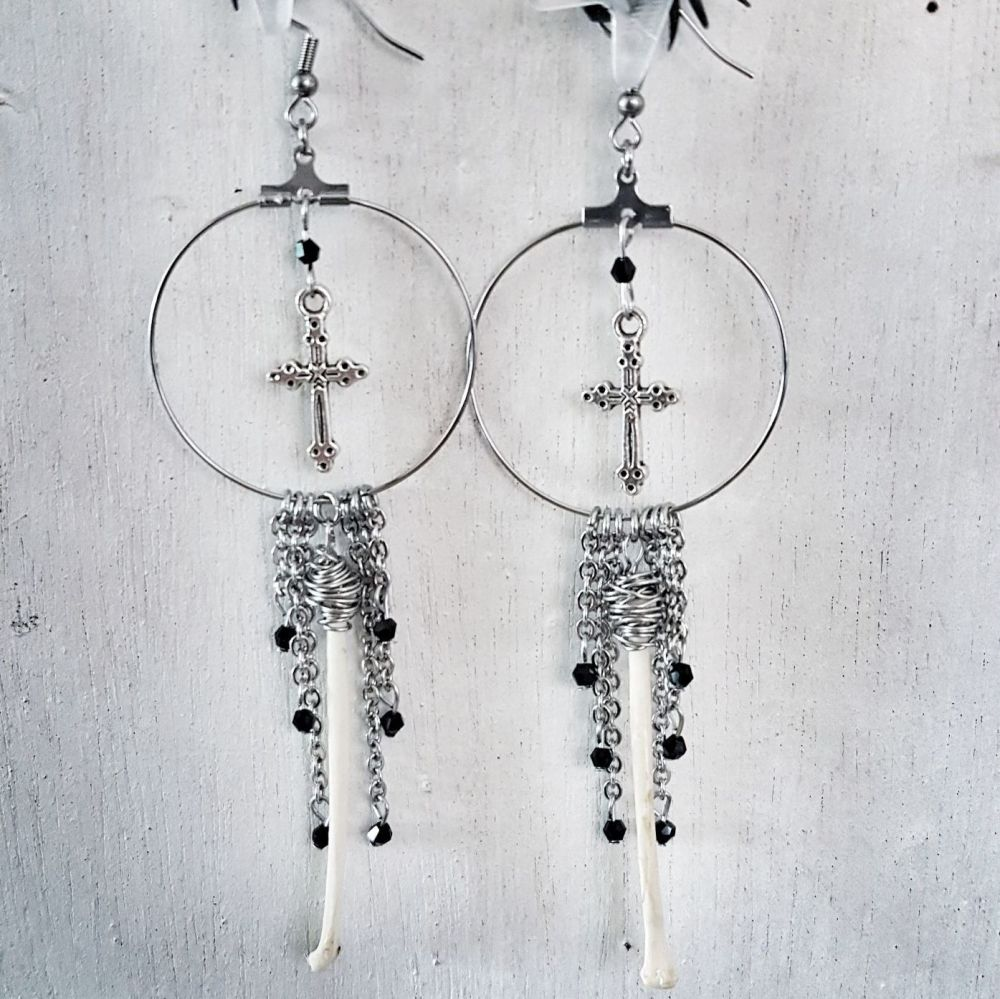 Crow Fibula Crucifix Dangle Hoop Earrings