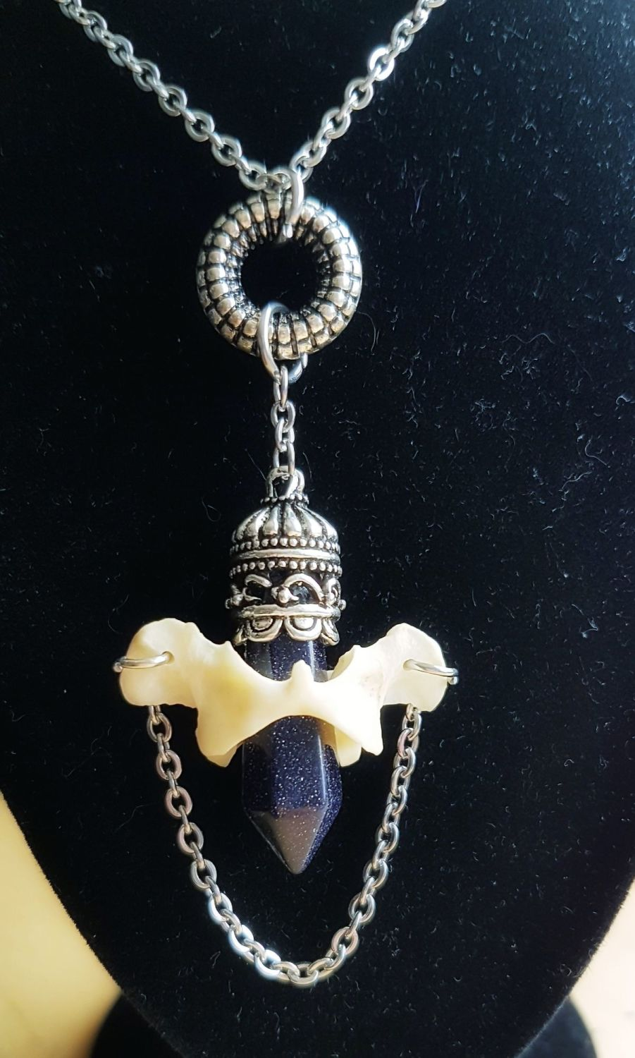 Atlas Bone Gold Stone Victorian Style Necklace