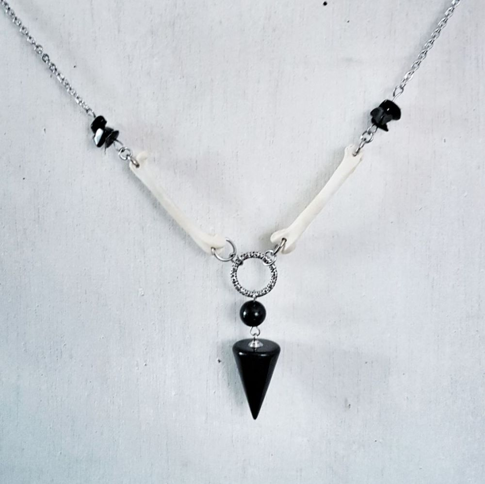 Blackbird Bones Obsidian Pendulum Necklace