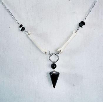 Blackbird Bones Obsidian Pendulum Necklace