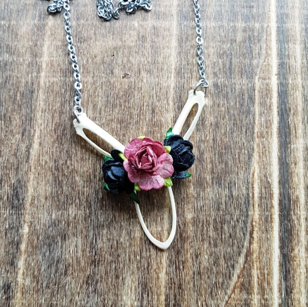 Wood Pigeon Bones Necklace Roses (was £17.99)