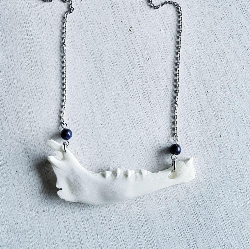 Lamb Jaw Bone With Lapis Lazuli Necklace