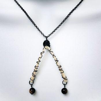 Turkey Wishbone Necklace With Tiger's Eye Wire Wrapped