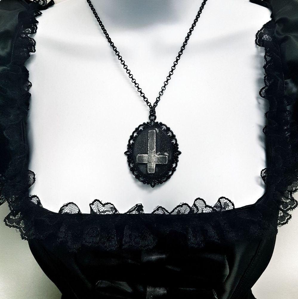Inverted Crucifix Ornate Pendant Necklace  Occult Gothic