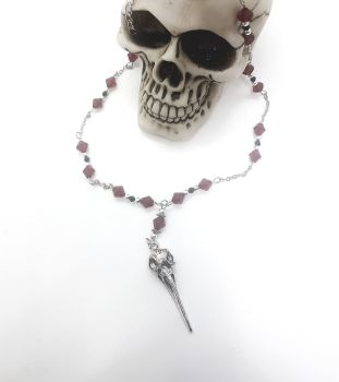 Red Rosary Style Crow Skull Necklace