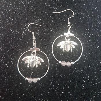 Bee Rose Quartz Hoop Earrings