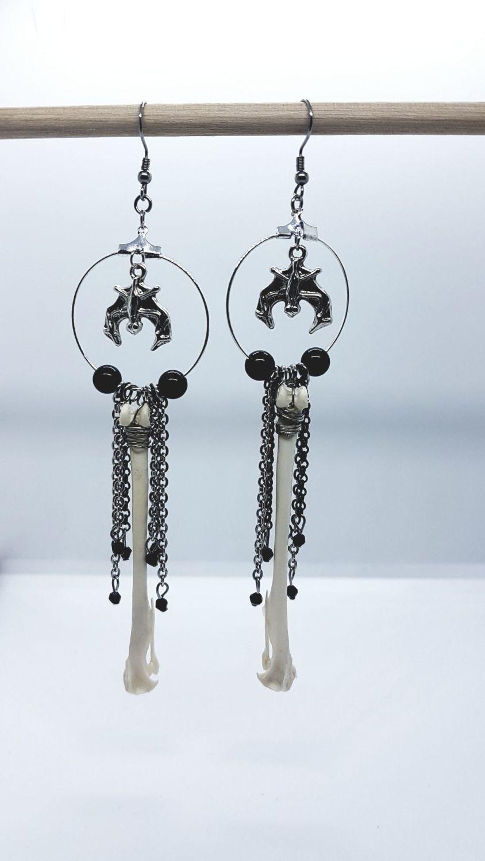 Hare Bone Obsidian Dangle Hoop Earrings With Bat Charms