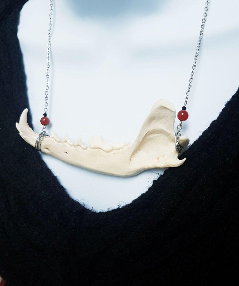 Fox Jaw Bone Necklace With Carnelian